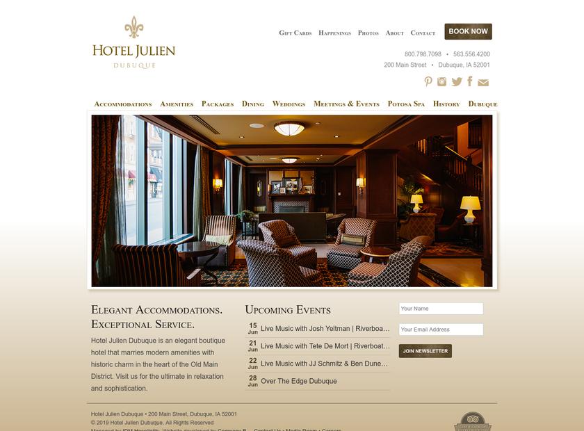 Hotel Julien Dubuque homepage screenshot