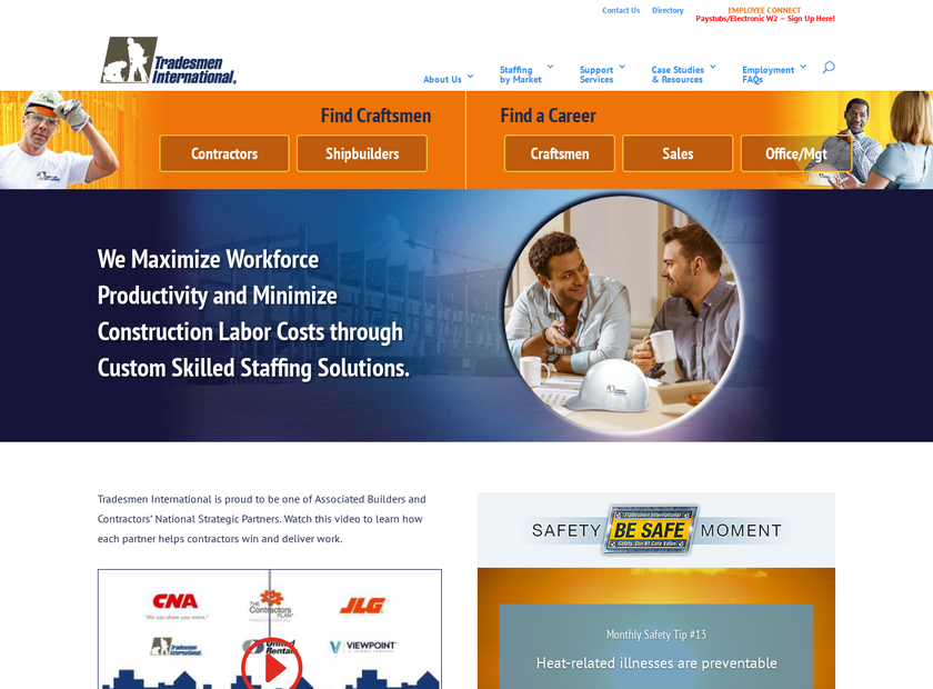 Tradesmen International Inc homepage screenshot