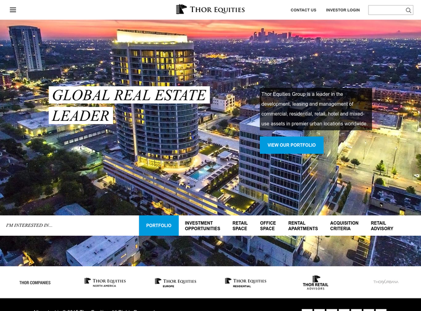 Thor Equities LLC homepage screenshot