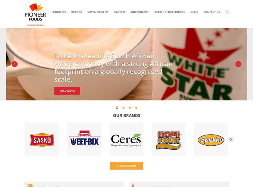 Pioneer Food Group Limited homepage screenshot