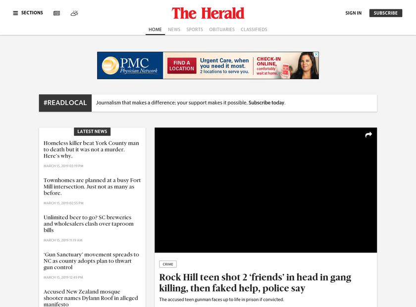 The Herald homepage screenshot