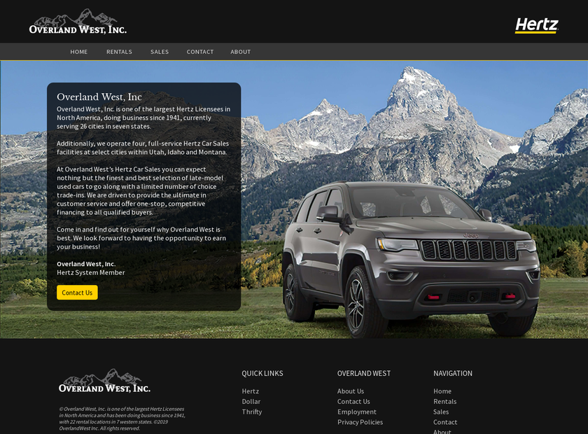 Overland West Inc homepage screenshot