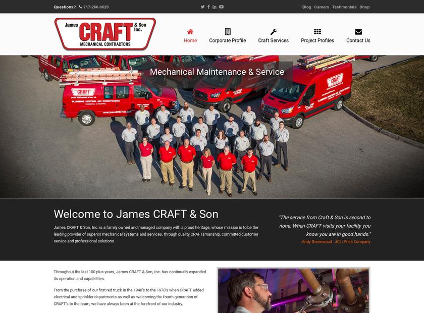 James CRAFT & Son Inc homepage screenshot