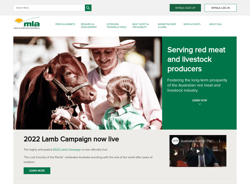 Meat & Livestock Australia Limited homepage screenshot