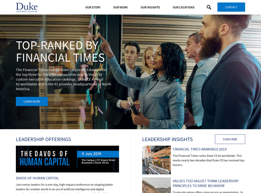 Duke Corporate Education homepage screenshot