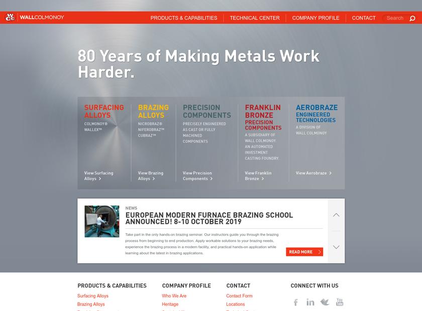 Wall Colmonoy Ltd (UK) homepage screenshot