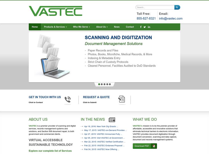 VASTEC Inc homepage screenshot