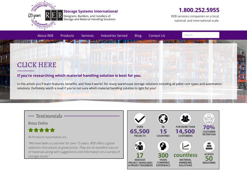 REB Storage Systems International homepage screenshot