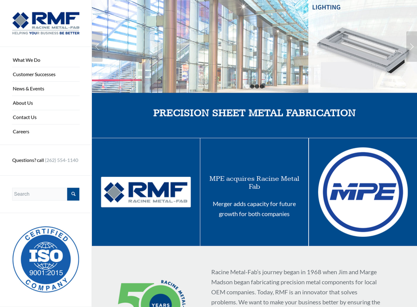 Racine Metal-Fab Ltd homepage screenshot