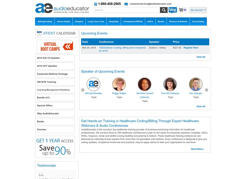 Audio Educator homepage screenshot
