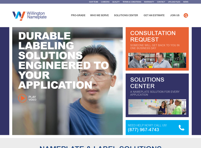 Willington Nameplate Inc homepage screenshot