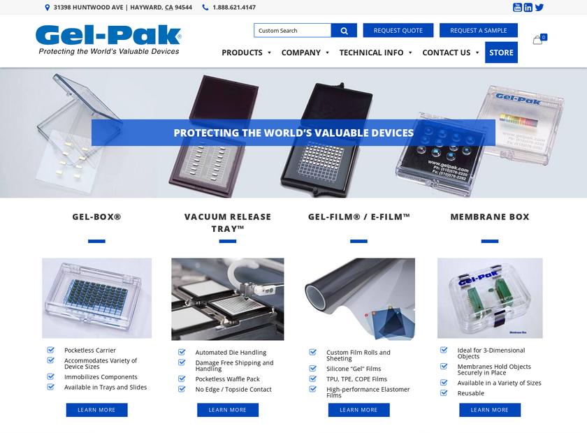 Gel-Pak homepage screenshot