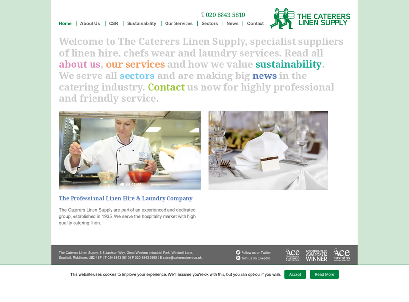 The Caterers Linen Supply homepage screenshot