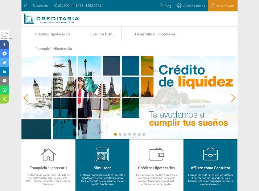 CREDITARIA homepage screenshot