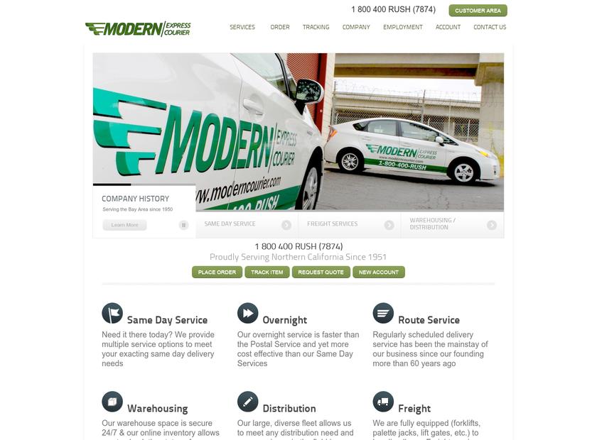 Modern Express Courier homepage screenshot