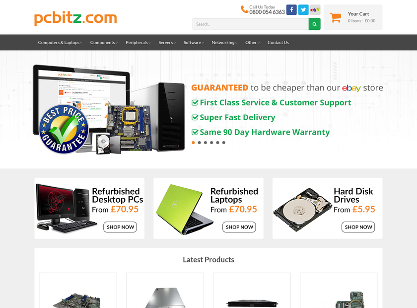 PCBITZ.com homepage screenshot