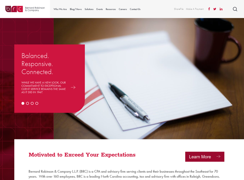 Bernard Robinson & Company LLP homepage screenshot