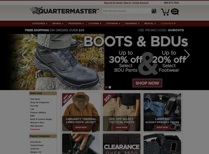 Quartermaster Inc homepage screenshot