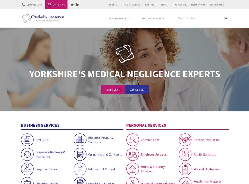 Chadwick Lawrence LLP homepage screenshot