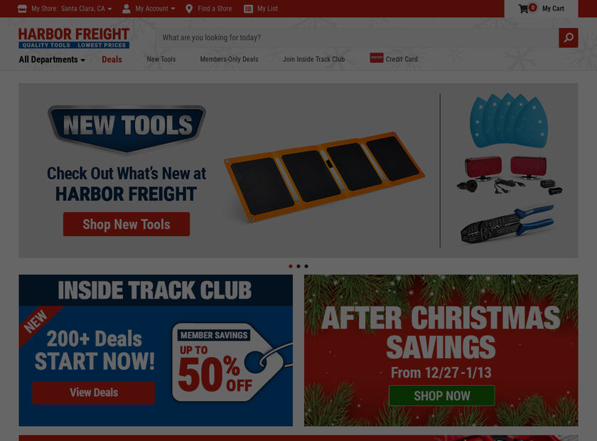 Harbor Freight Tools Homepage Screenshot