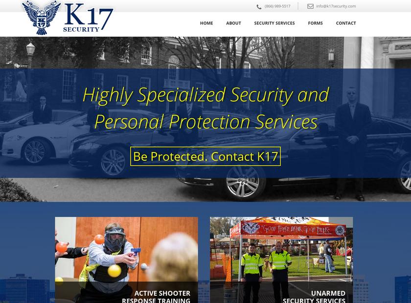K17 Security homepage screenshot