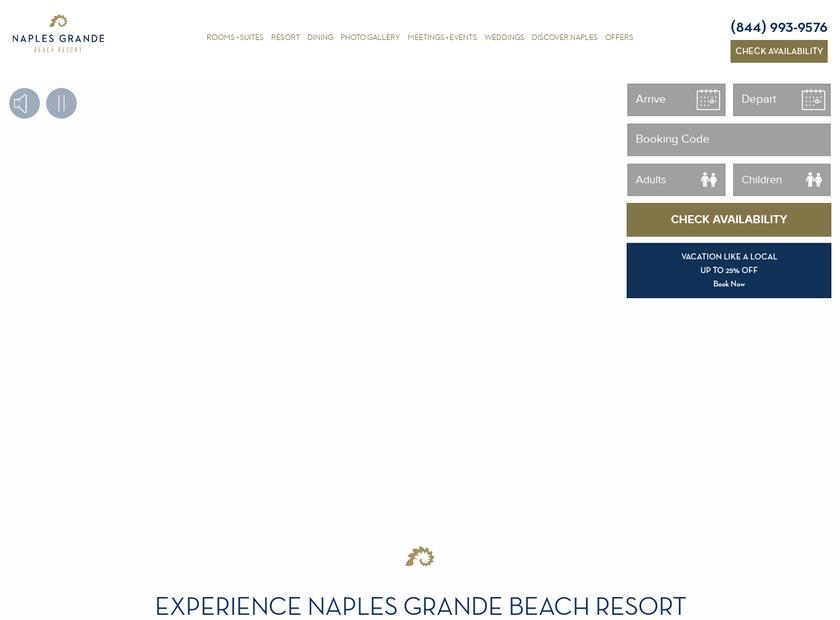 Naples Grande Resort & Club homepage screenshot