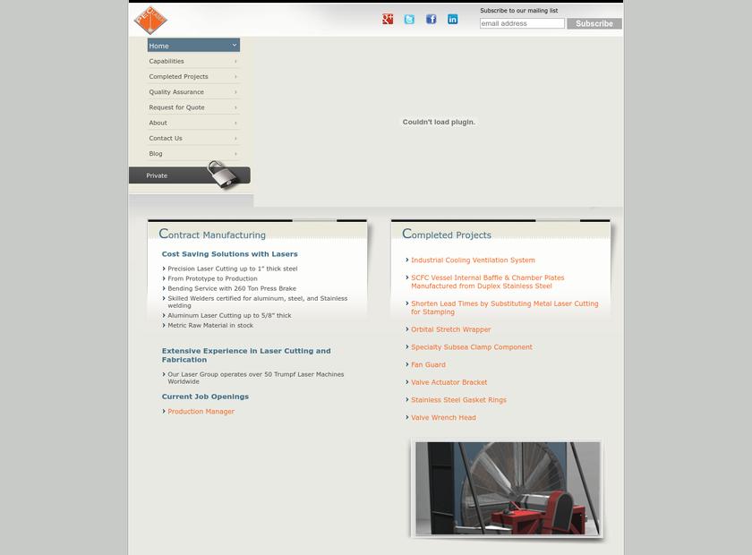 PEC Laser homepage screenshot