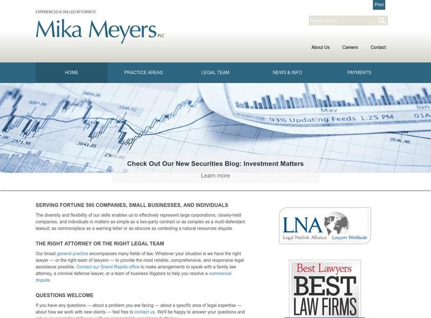 Mika Meyers Beckett & Jones PLC homepage screenshot