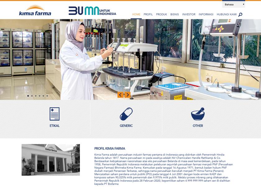 PT. Kimia Farma (Persero) Tbk. homepage screenshot