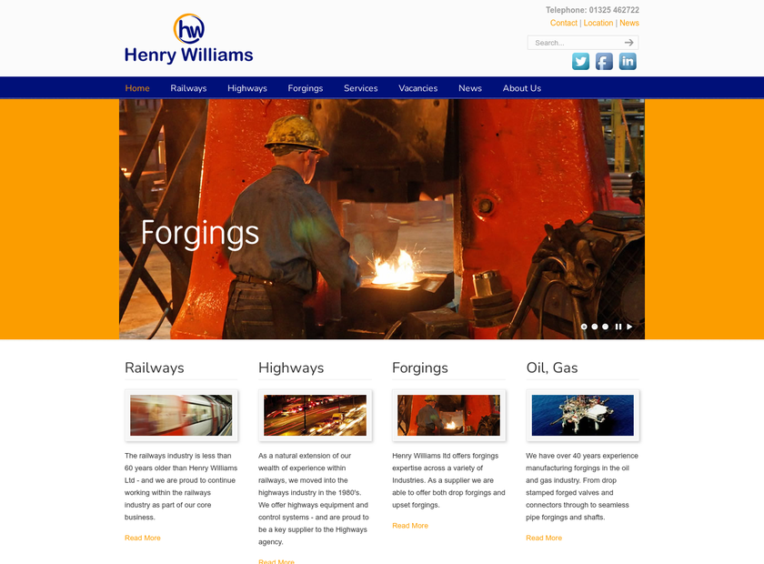 Henry Williams Limited homepage screenshot