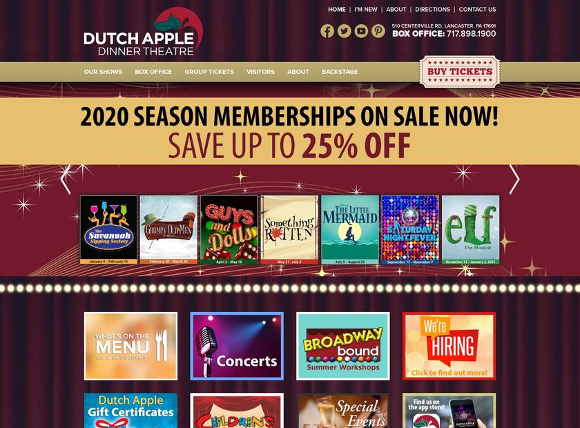 Dutch Apple Dinner Theatre homepage screenshot
