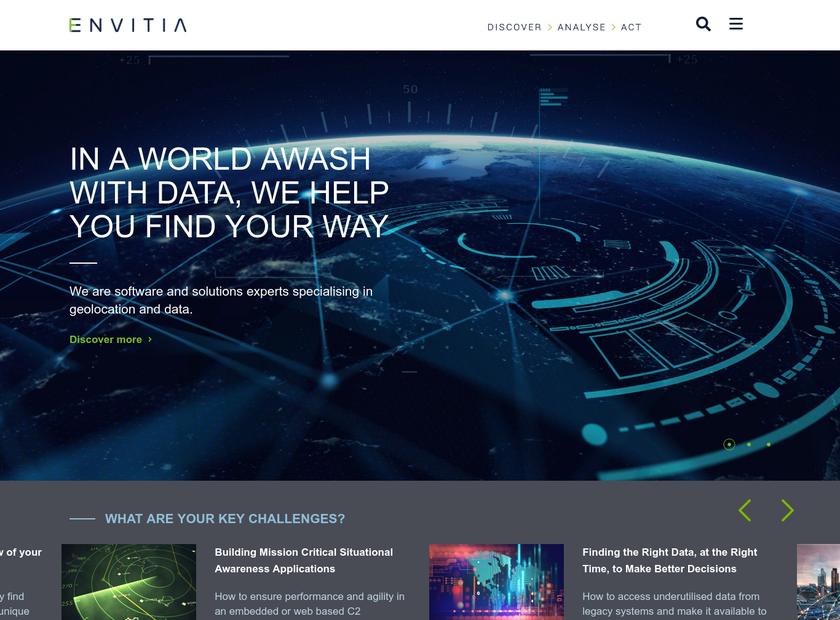 Envitia PLC homepage screenshot