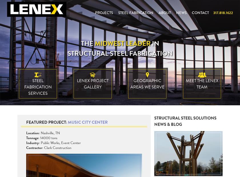 Lenex Steel Corporation homepage screenshot