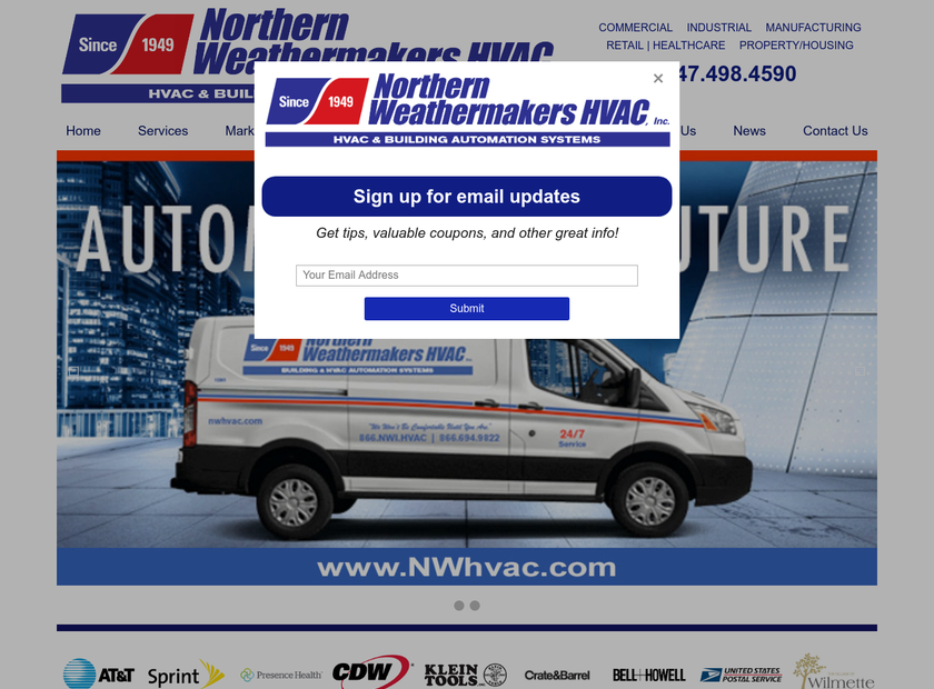Northern Weathermakers HVAC, Inc. homepage screenshot