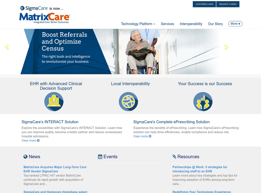 SigmaCare homepage screenshot