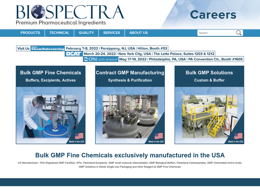 Biospectra, Incorporated homepage screenshot
