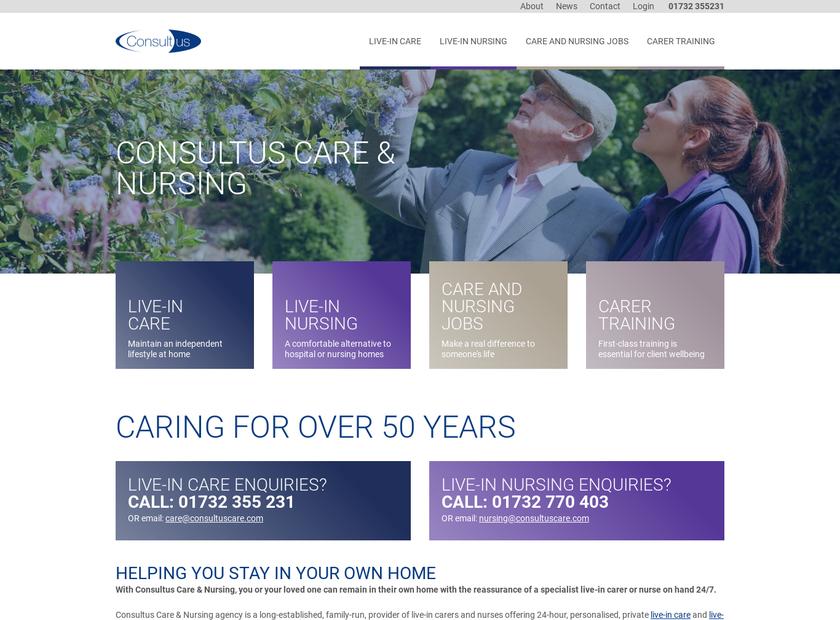 Consultus Care & Nursing Limited homepage screenshot
