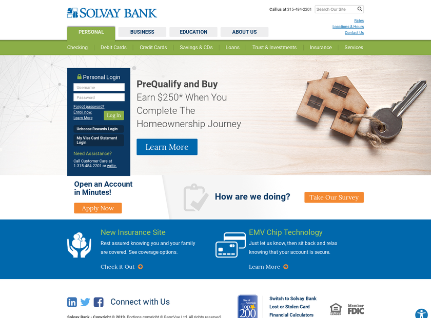 Solvay Bank Corp homepage screenshot