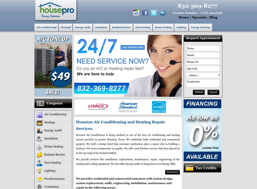 Houston Air Conditioning Repair & Heating Replacement, Maintenance Company homepage screenshot