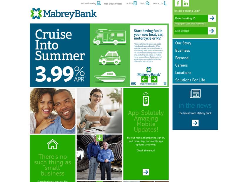 Mabrey Bank homepage screenshot