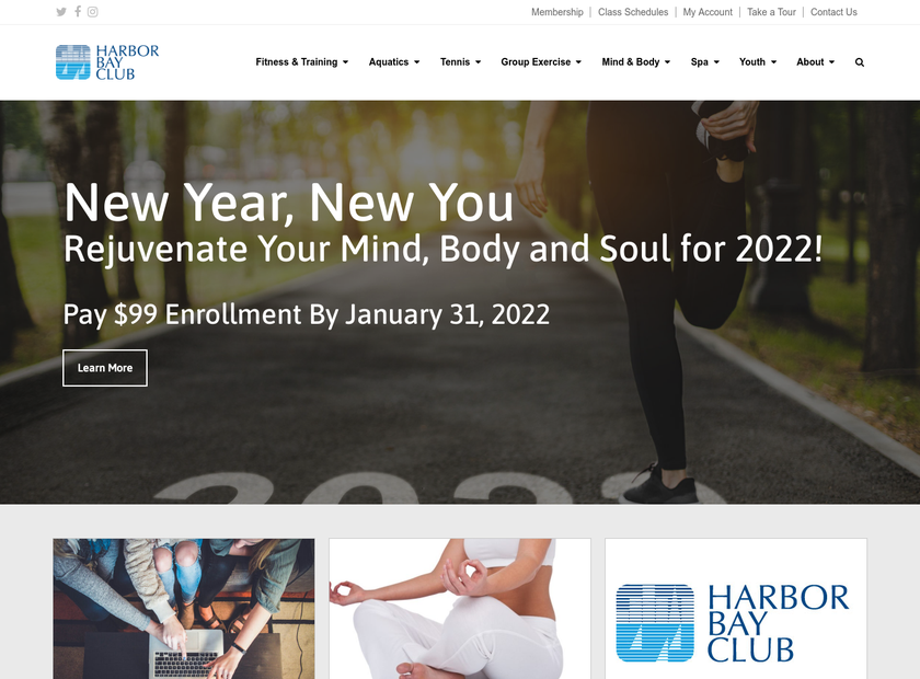Harbor Bay Club homepage screenshot