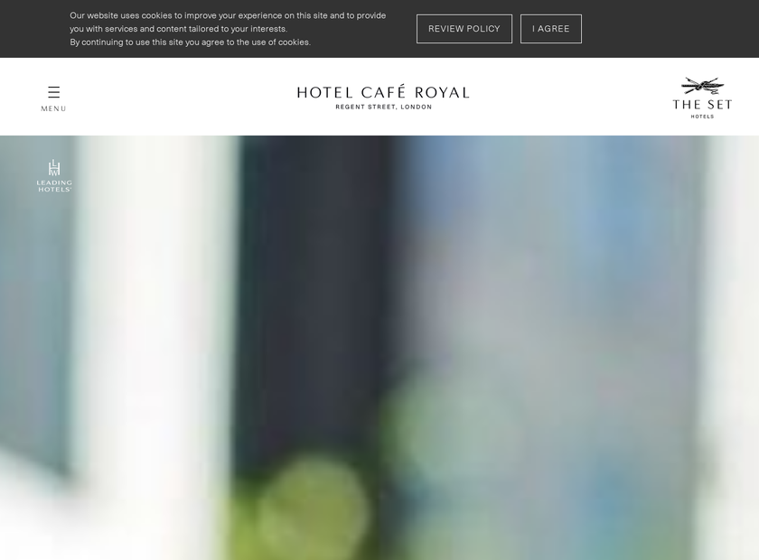 Hotel Cafe Royal homepage screenshot