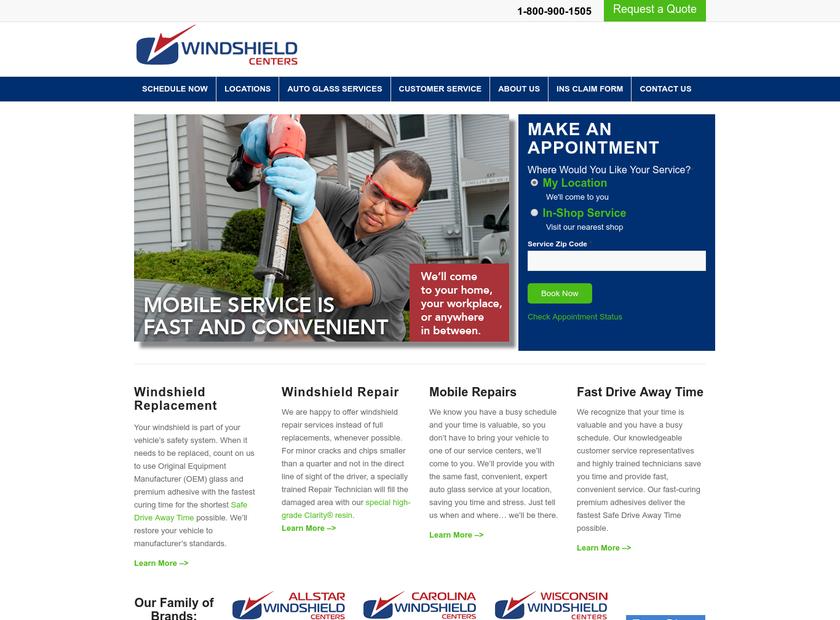 Windshield Centers homepage screenshot