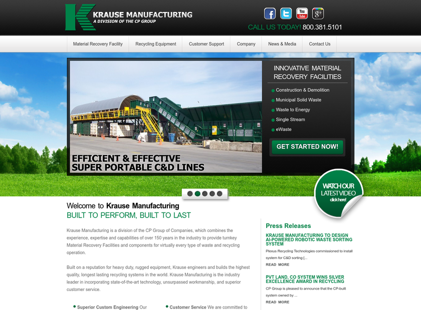 Krause Manufacturing Inc homepage screenshot
