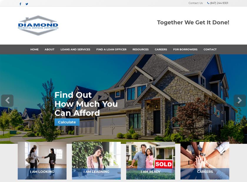 Diamond Residential Mortgage Corporation homepage screenshot