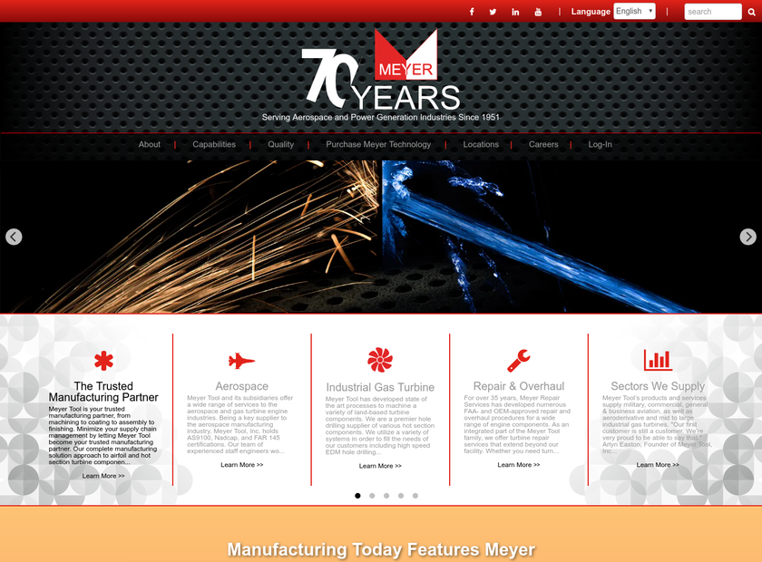 Meyer Tool Inc homepage screenshot