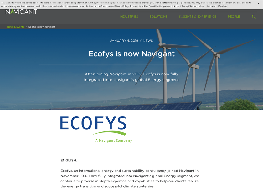 Ecofys BV homepage screenshot