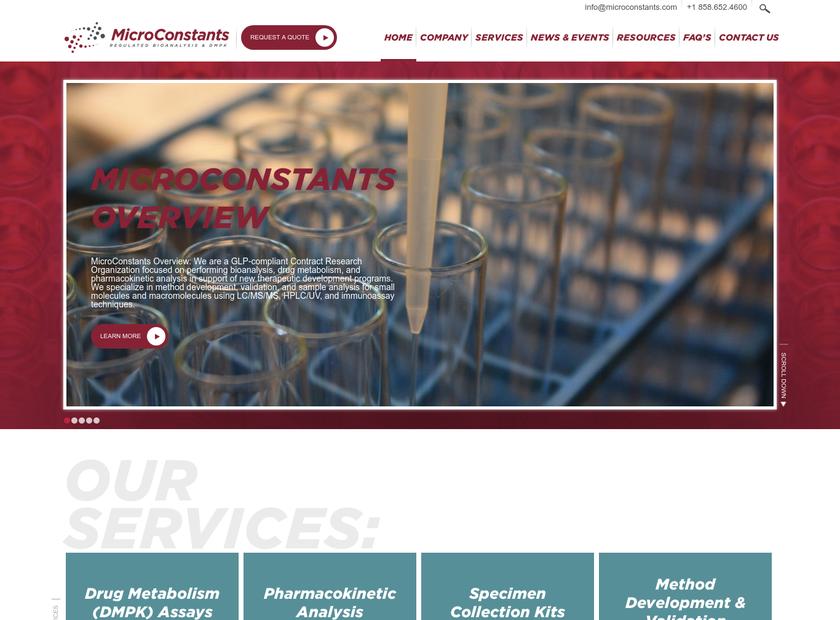 MicroConstants Inc homepage screenshot