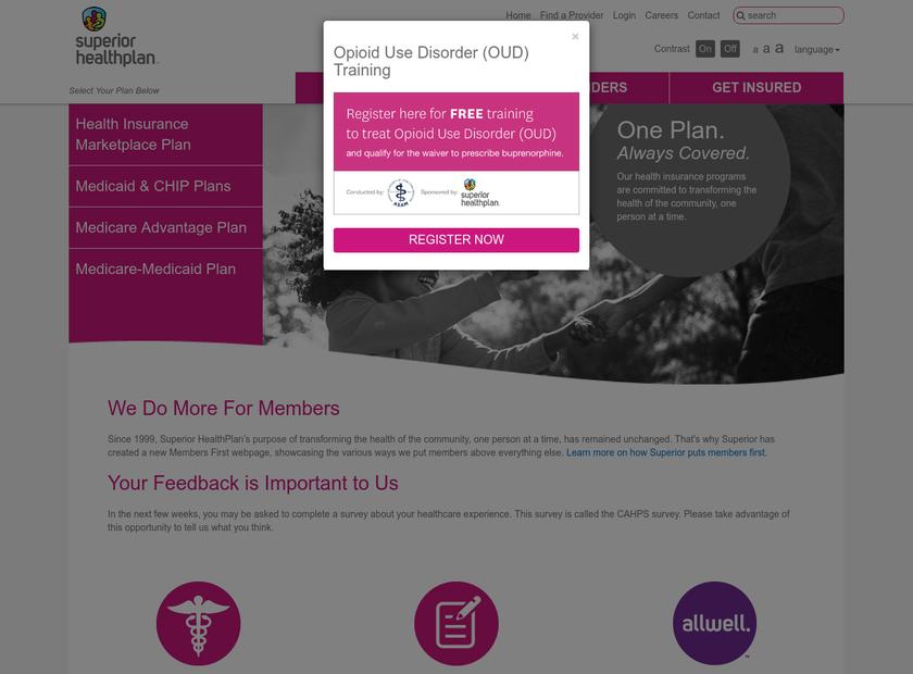 Superior HealthPlan Inc homepage screenshot
