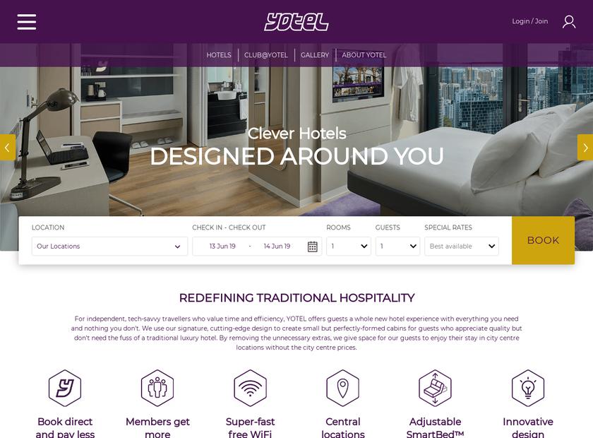 YOTEL Limited homepage screenshot